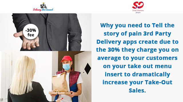Why you need to Tell the story of pain 3rd Party Delivery apps create due to the 30% they charge you on average to your customers on your take out menu insert to dramatically increase your Take-Out Sales.